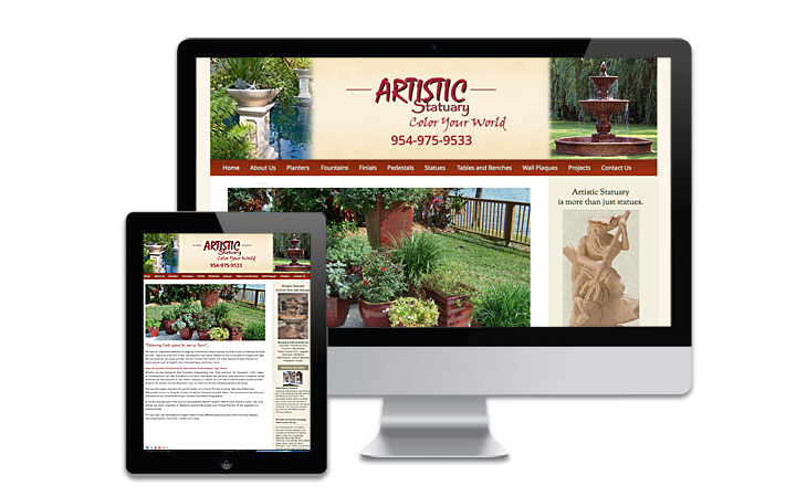WordPress website artistic statuary