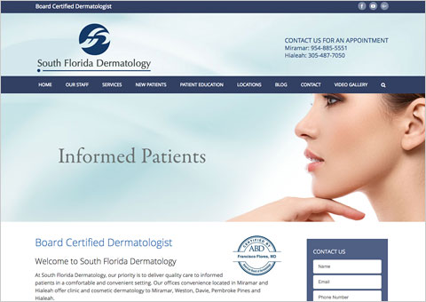 South Florida Dermatology WordPress website